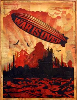 Shepard Fairey, War is Over HPM on Wood