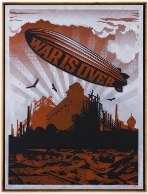 Shepard Fairey, War is Over on Metal