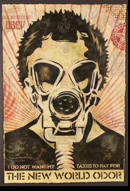 Shepard Fairey, World Odor Stencil Collage on Paper