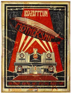 Shepard Fairey, Zeppelin Mothership HPM on Wood