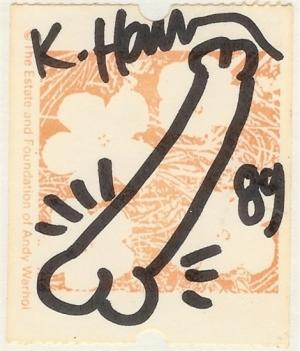 Original Erect Penis Hand Drawing over Warhol Stamp