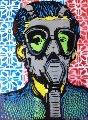 Gas Mask -  stencil on canvas