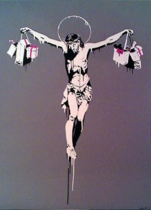 Banksy, Christ With Shopping Bags