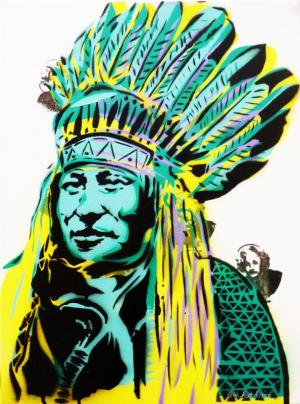 Native Rebel - stencil on canvas